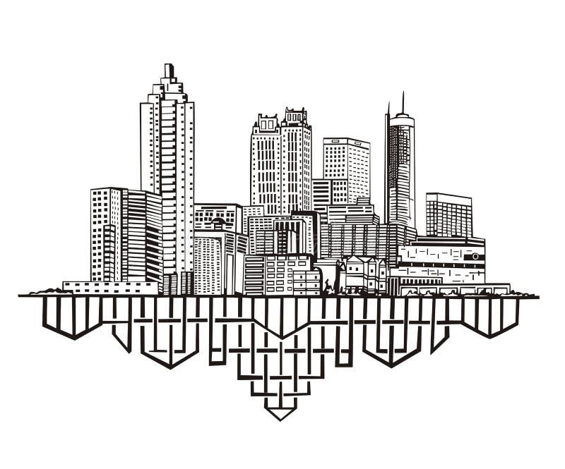 Atlanta, skyline de GA ilustração royalty free