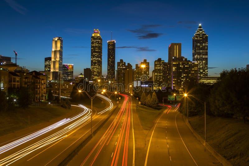 Atlanta Georgia Skyline At Night With Light Trails stock photography