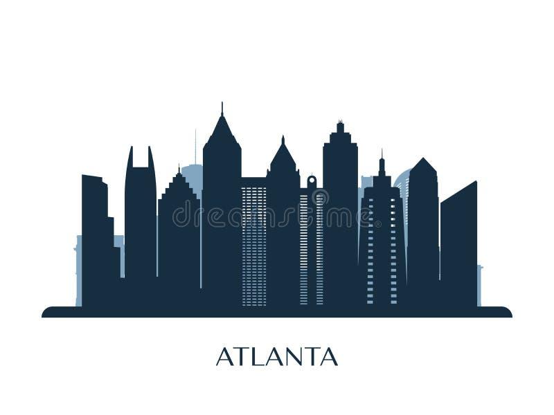 Atlanta-Skyline, einfarbiges Schattenbild vektor abbildung