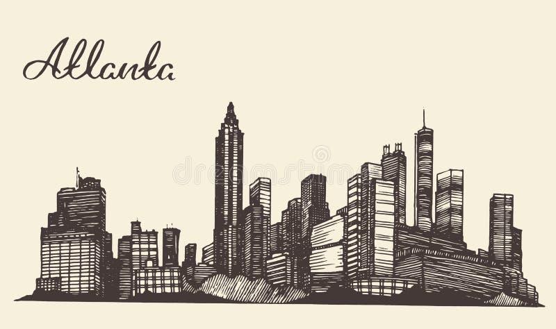 Atlanta skyline engraved hand drawn sketch vector illustration