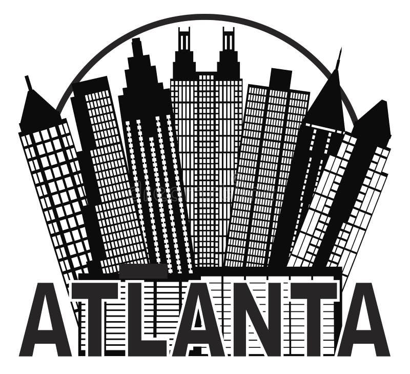 Atlanta-Skyline-Kreis-Schwarzweiss-Vektor Illu vektor abbildung