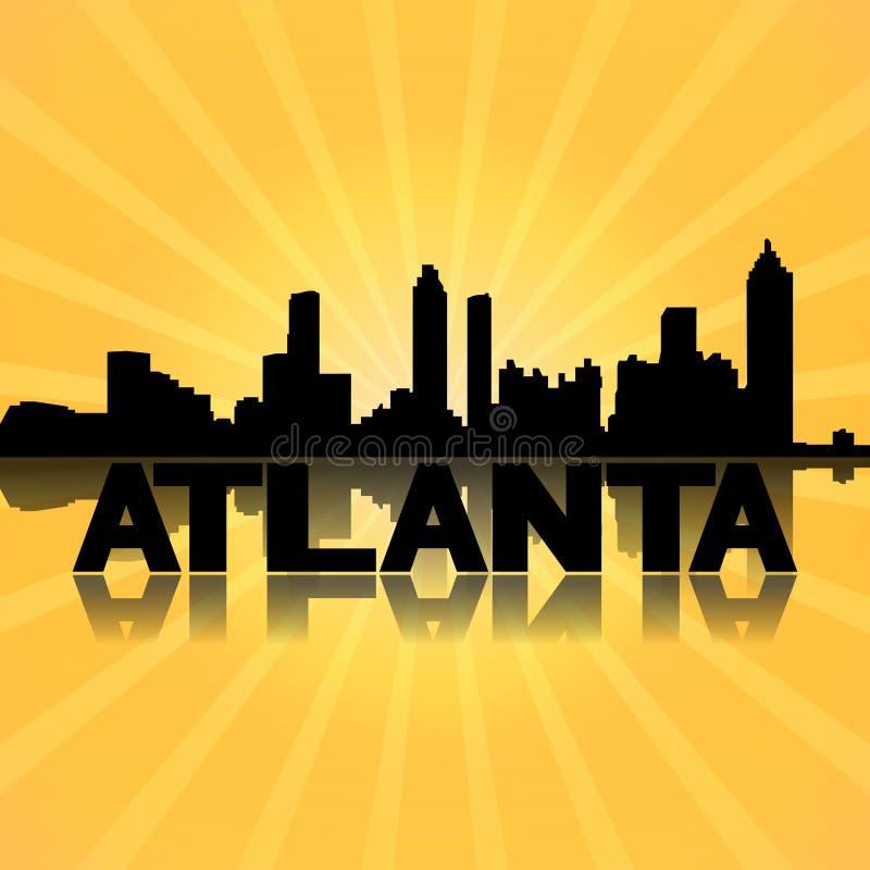 Atlanta-Skyline reflektiert mit Sonnendurchbruch lizenzfreie abbildung