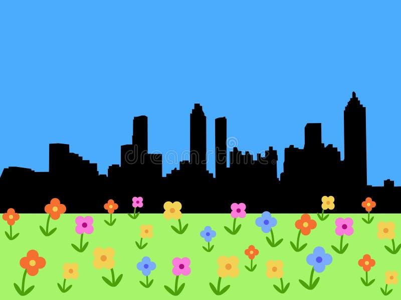 Atlanta Skyline in spring stock illustration