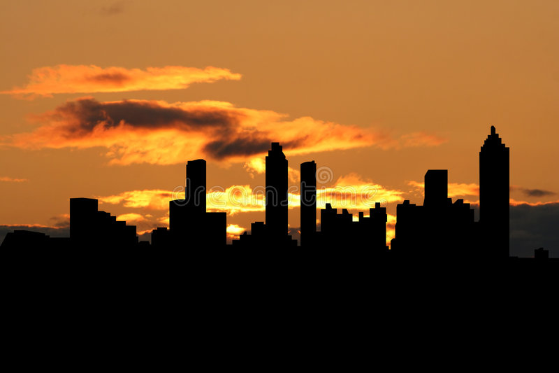 Atlanta skyline at sunset stock illustration