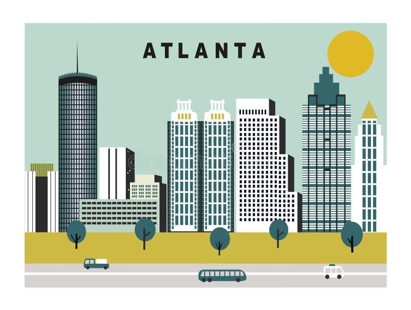 Atlanta stad i Georgia USA royaltyfri illustrationer