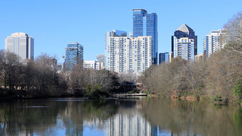 Atlanta, United States skyline with reflections. The Atlanta, United States skyline with reflections stock photos