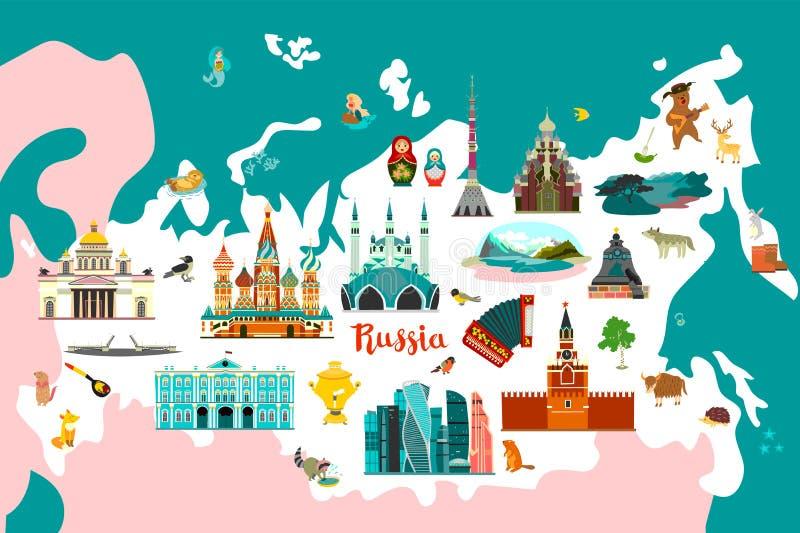 Atlante di vettore della Russia, illustrazione del colorfull royalty illustrazione gratis
