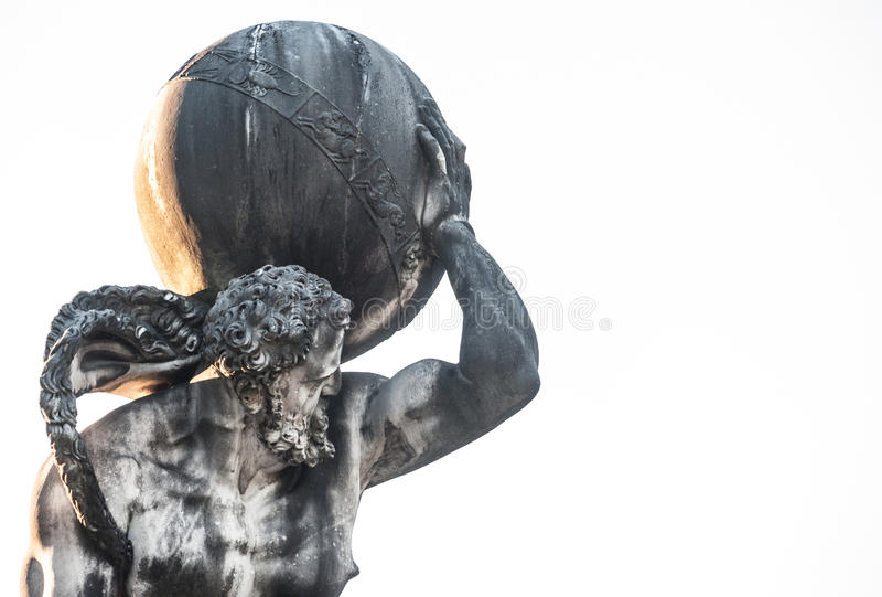 Atlante. The mythological Atlas holding the world on his shoulders stock image