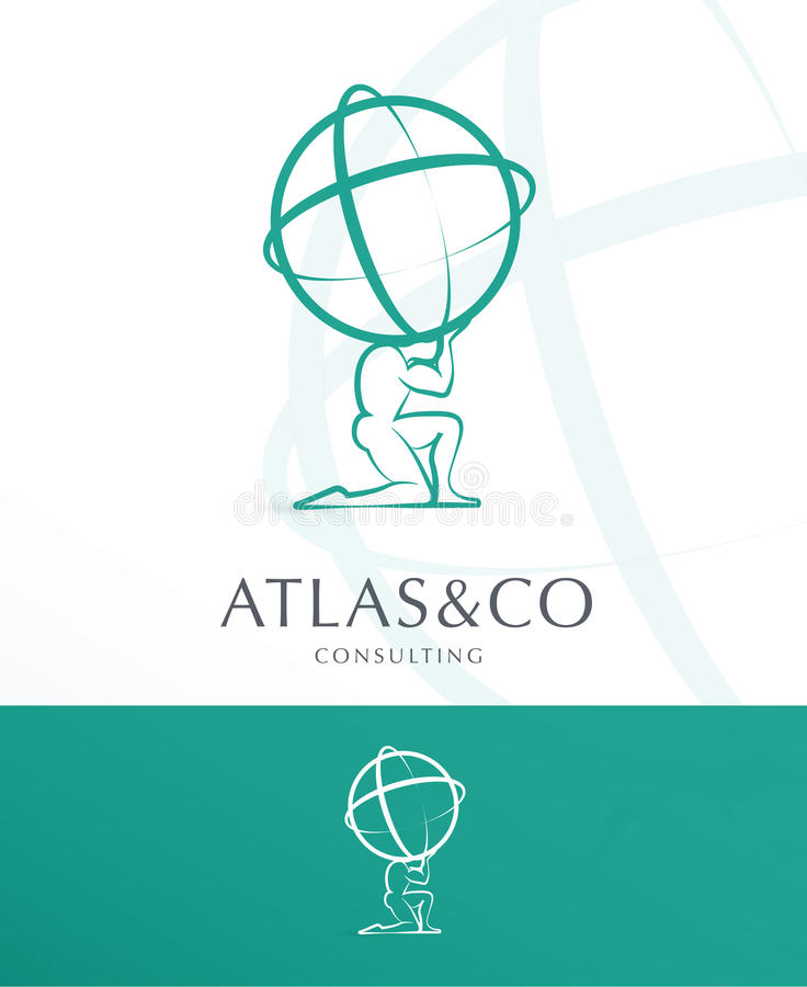 ATLANTE, PROGETTAZIONE CORPORATIVA DI LOGO royalty illustrazione gratis