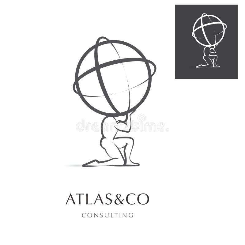 ATLANTE, PROGETTAZIONE CORPORATIVA DI LOGO illustrazione di stock