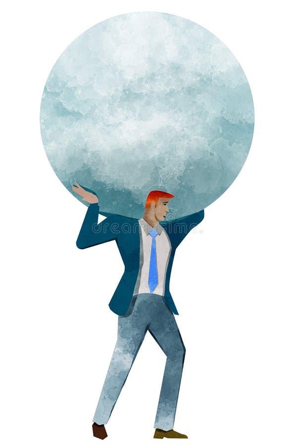 Atlante, progettazione a mano libera, mondo sulle spalle, uomo d'affari illustrazione di stock