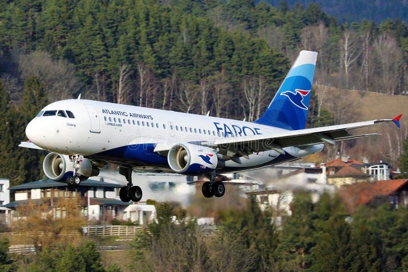 Atlantic Airways at Innsbruck Airport, INN, Faroe Islands livery royalty free stock photography