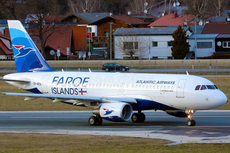 Atlantic Airways at Innsbruck Airport, INN, Faroe Islands livery royalty free stock images