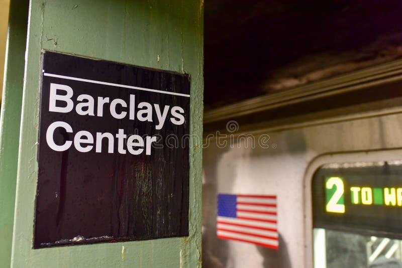 Atlantic Avenue, Barclays Center Station - NYC Subway. BROOKLYN, NEW YORK - FEBRUARY 22, 2015: Atlantic Avenue, Barclays Center Station in the New York City stock photography
