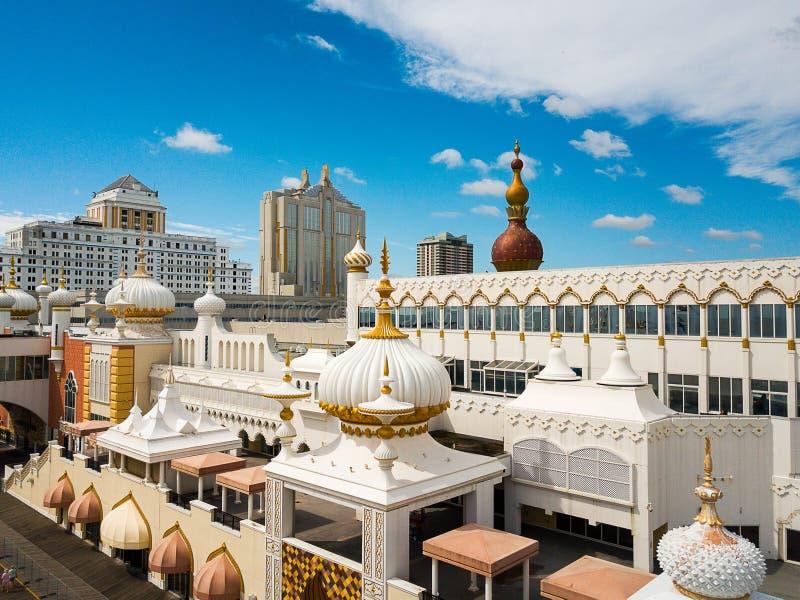 Atlantic City, EUA - 20 de setembro de 2017: Vista aérea do casino de Taj Mahal do trunfo imagens de stock