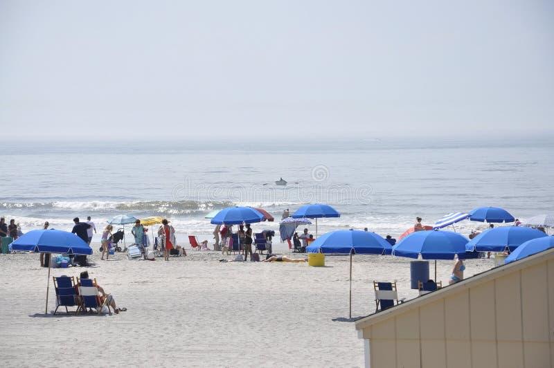 Atlantic City, New Jersey, el 3 de julio: La escena de la playa en el centro turístico de Atlantic City de New Jersey los E.E.U.U imagenes de archivo