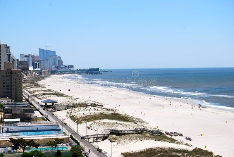 Atlantic City Skyline and Beaches. A view of the Atlantic City skylines and beaches overlooking the Atlantic Ocean royalty free stock photos