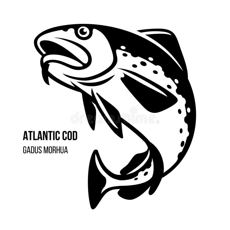 Atlantic Cod fish vector illustration. Atlantic Cod fish. Gadus Morhua. Black outline vector illustration royalty free illustration