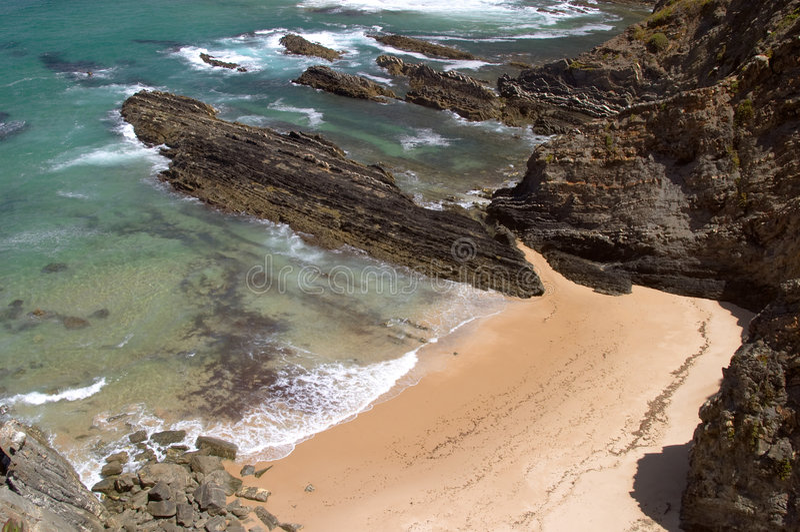Atlantic ocean beach at Sardao cape (Cabo Sardao) stock image