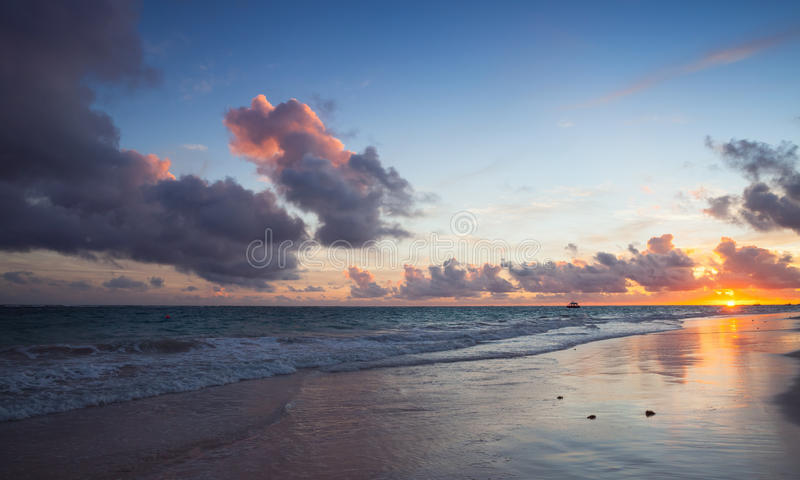 Atlantic Ocean coast, Bavaro beach. Colorful seascape in sunrise. Atlantic Ocean coast, Bavaro beach, Hispaniola Island. Dominican Republic, coastal landscape royalty free stock image
