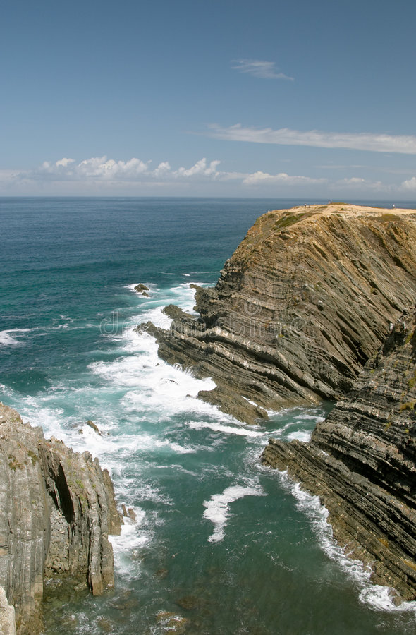 Atlantic ocean coast cliff at Sardao cape (Cabo Sardao) royalty free stock images