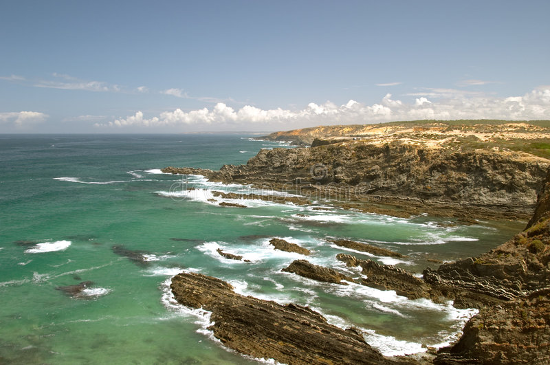 Atlantic ocean coast reef at Sardao cape (Cabo Sardao) royalty free stock images