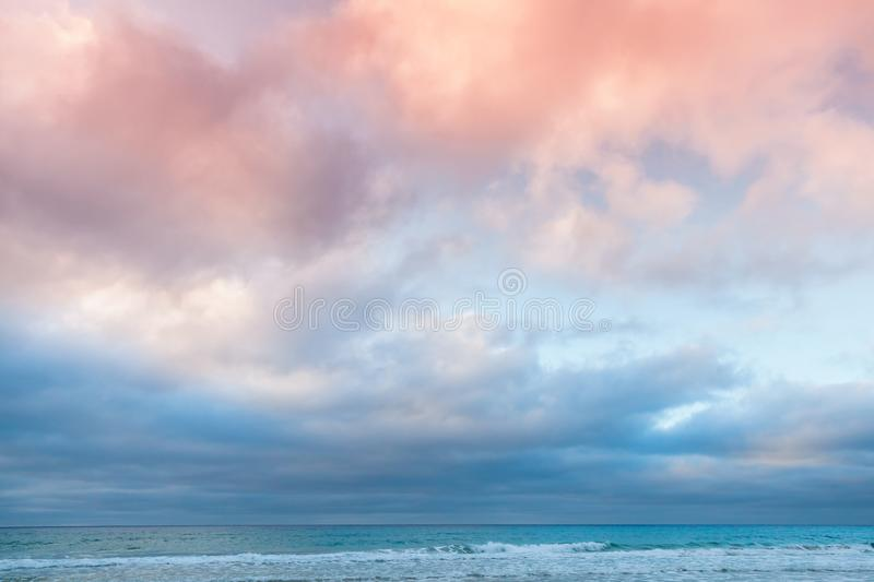 Dramatic morning cloudy sky over Ocean stock photography