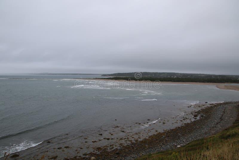 The Atlantic ocean coastline as seen from above stock photo
