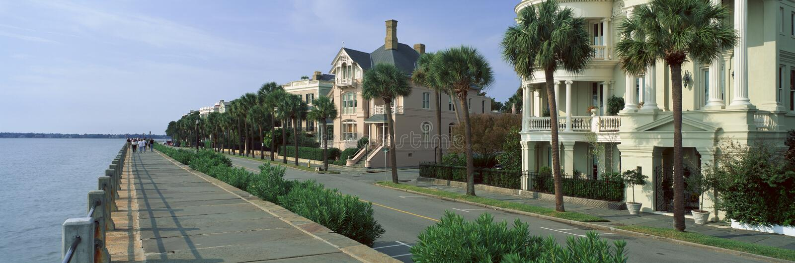 Atlantic Ocean with historic homes of Charleston, SC royalty free stock photography