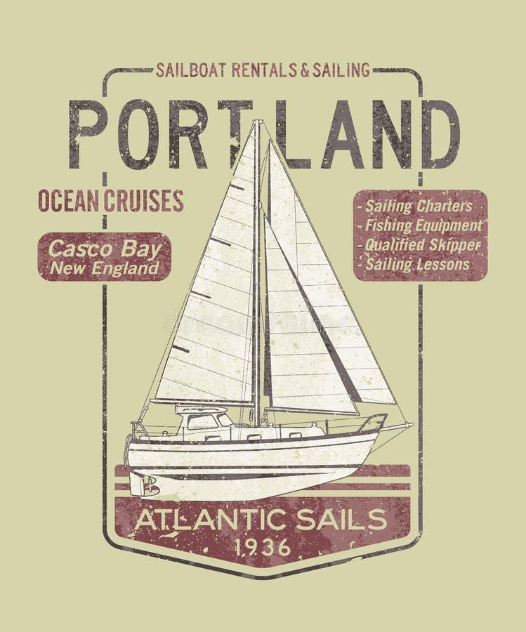 Atlantic Ocean segling royaltyfri illustrationer