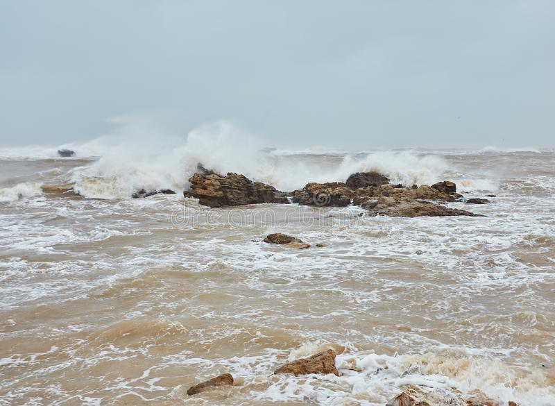 Atlantic ocean in a stormy weather, Essaouira royalty free stock images