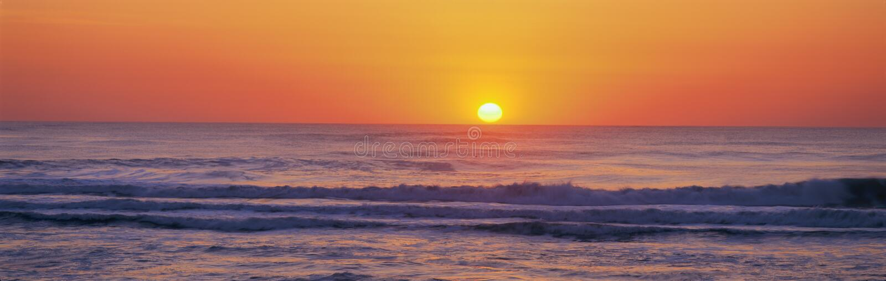 Atlantic Ocean sunset. North Carolina stock photo