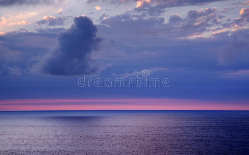 Atlantic Ocean sunset landscape, Cantabrian Coast. Cantabria is a beatiful region on the Bay of Biscay in northern Spain with two hundred kilometres of white stock images