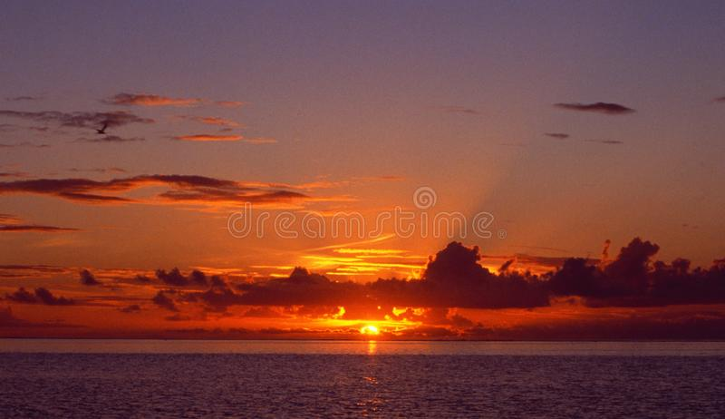 Sunset over the endless horizon of the ocean. Atlantic Ocean: Sunset over the endless horizon of the sea royalty free stock images