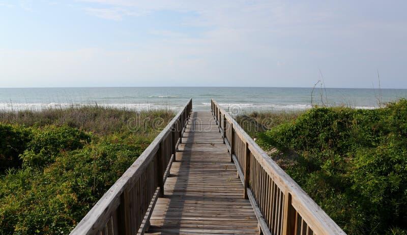 Atlantic Ocean view over a boardwalk stock image