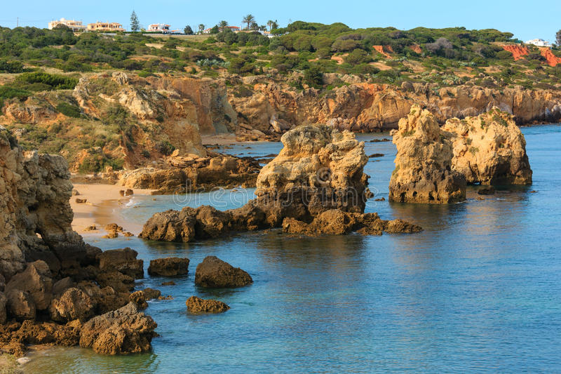 Atlantic rocky coast view Albufeira, Algarve, Portugal. royalty free stock images