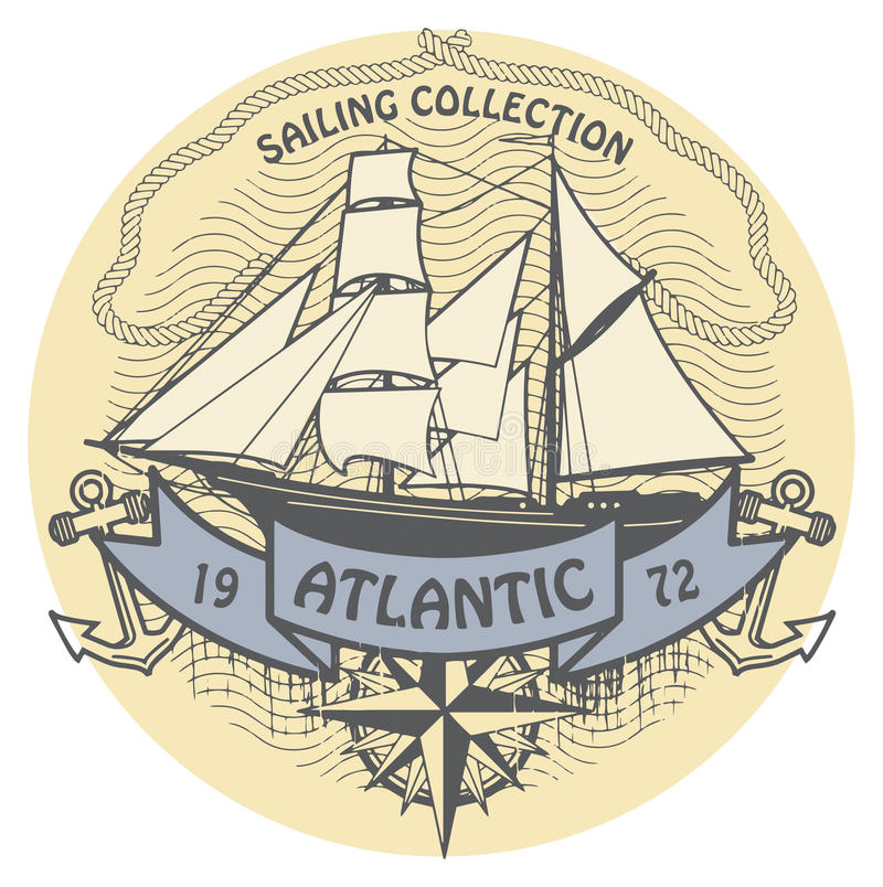 Download Atlantic Sailing stamp stock vector. Image of marketing - 34104975