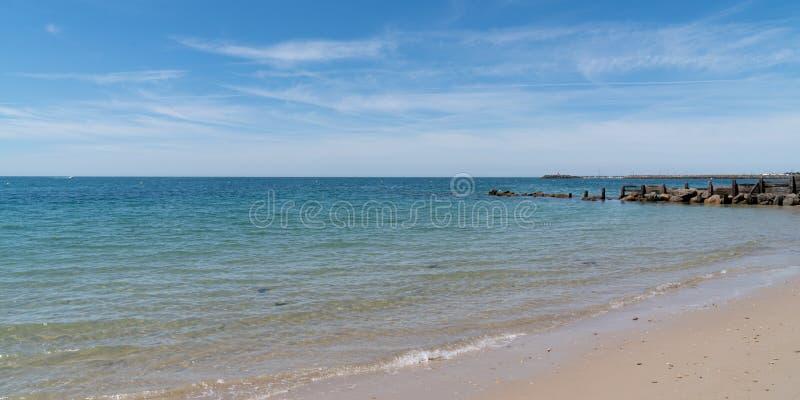 Atlantic sea coast beach from a French Ile de Noirmoutier in web banner template header panorama. An Atlantic sea coast beach from a French Ile de Noirmoutier in stock image