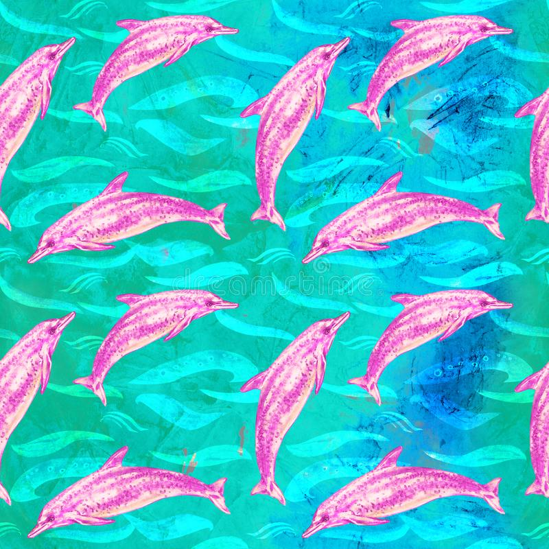 Atlantic Spotted dolphin in pink color palette, hand painted watercolor illustration, seamless pattern on blue, green ocean surfac. E with waves background stock illustration