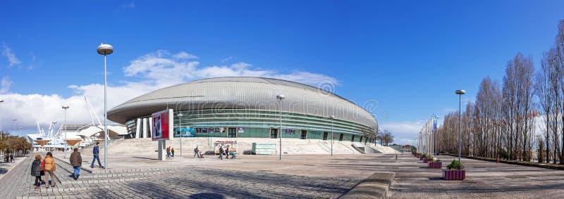Atlantico-Pavillon (Pavilhao Atlantico), z.Z. genannt MEO-Arena, im Park von Nationen stockfotos
