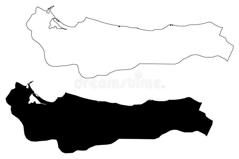 Atlantida Department Republic of Honduras, Departments of Honduras map vector illustration, scribble sketch Atlántida map.  vector illustration