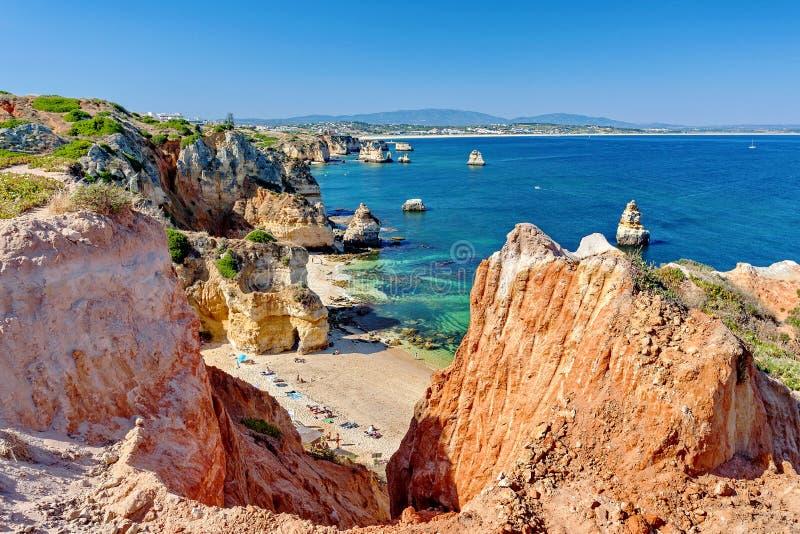 Atlantik- - Camilo-Strand, Lagos Algarve Portugal stockbilder