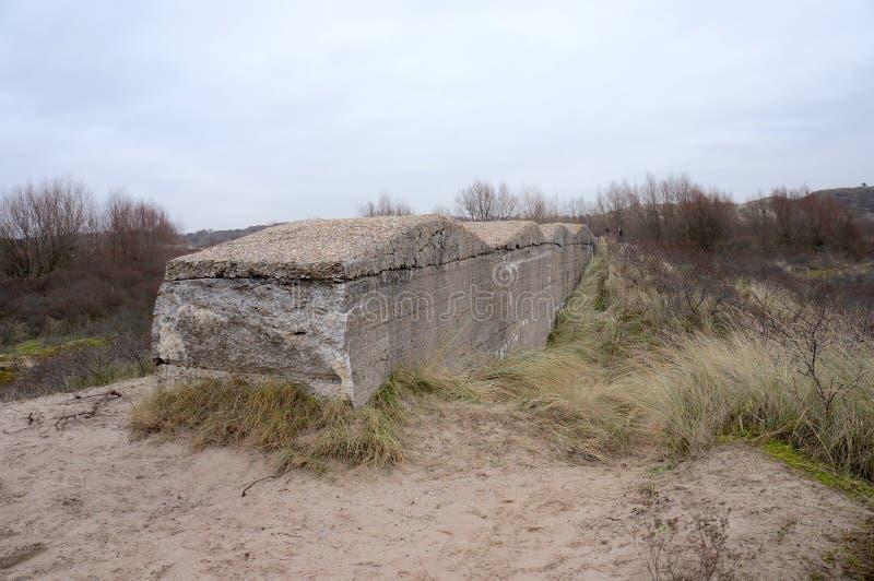 Atlantikwall Atlantyk ściana blisko Katwijk w holandiach fotografia stock