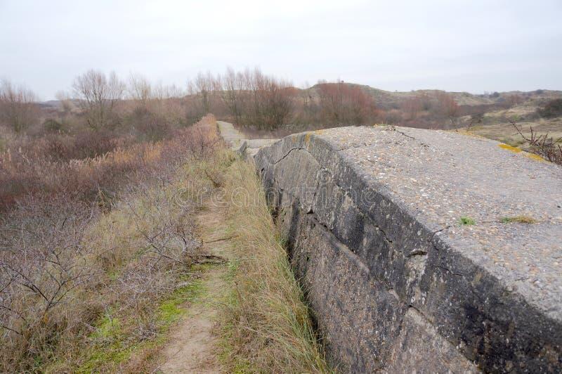 Atlantikwall Atlantyk ściana blisko Katwijk w holandiach zdjęcia royalty free