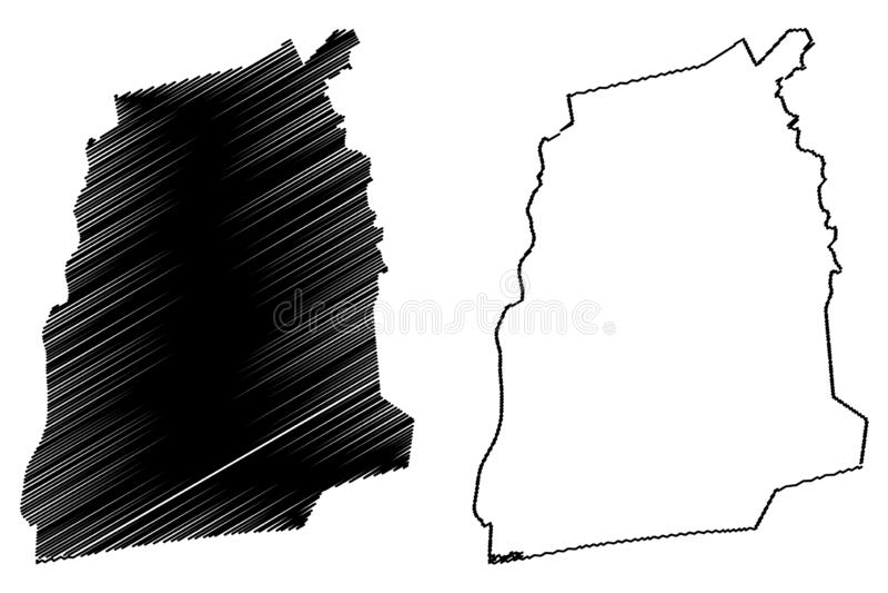 Atlantique-Abteilungs-Abteilungen von Benin, Republik Benin, Dahomey Karten-Vektorillustration, Gekritzelskizze Atlantique-Karte vektor abbildung