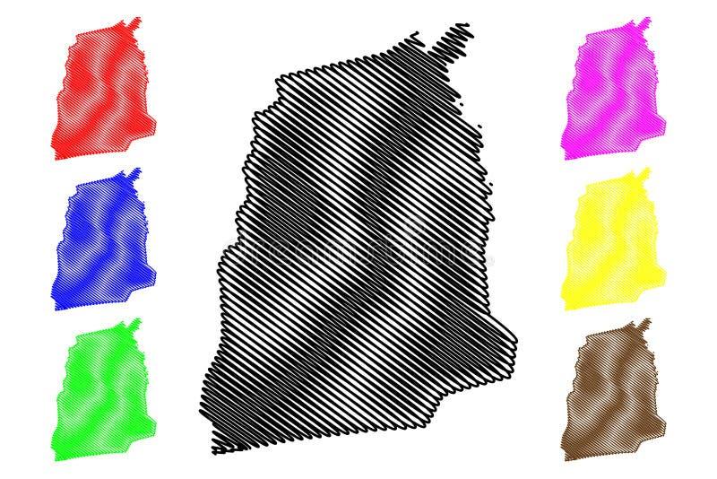 Atlantique-Abteilungs-Abteilungen von Benin, Republik Benin, Dahomey Karten-Vektorillustration, Gekritzelskizze Atlantique-Karte lizenzfreie abbildung