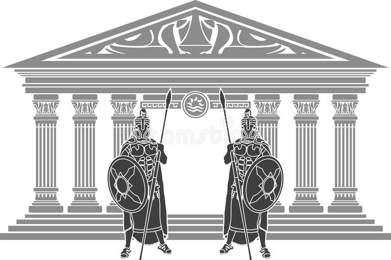 Atlantis dwa świątyni titans i ilustracja wektor