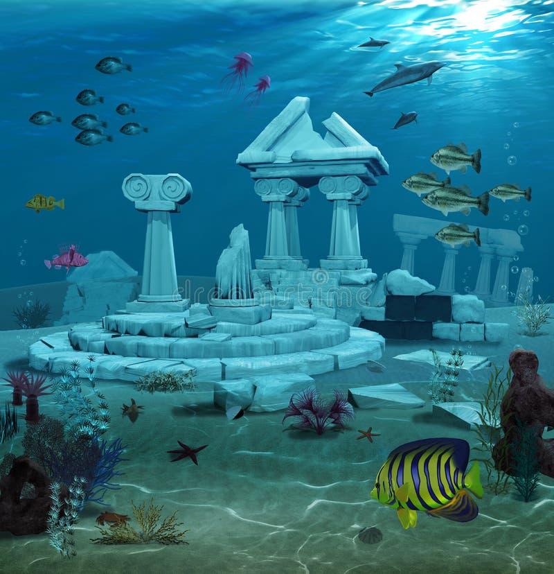Atlantis fördärvar undervattens- royaltyfri bild