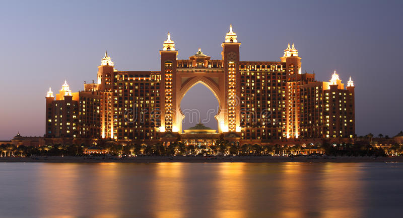 Atlantis Hotel at night, Dubai stock image