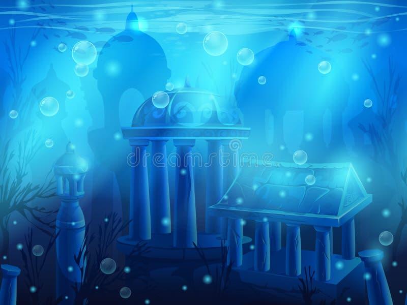 atlantis Naadloze ondergedompelde onderwaterstad, de oude ruïnes vector illustratie